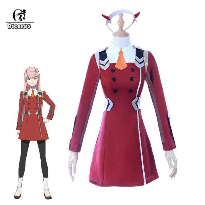 ROLECOS 4XL LIEBLING 02 Null Zwei Cosplay Kostüm LIEBLING in die FRANXX Anime Cosplay DFXX Frauen Kostüm (Kleid + headwear) 1
