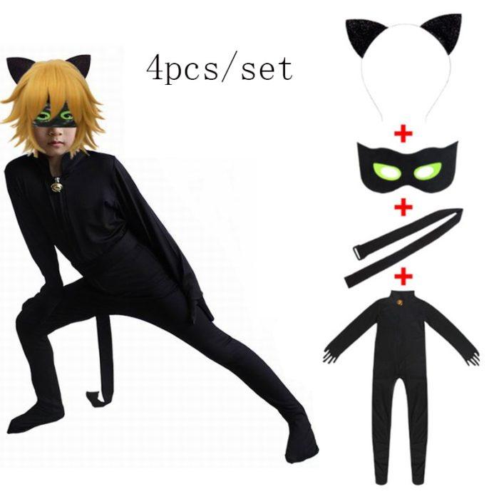 Kind Schwarz Katze Noir Cosplay Kostüm Magie Halloween Weihnachten Overall Jungen Adrian Marinette Super Hero Cosplay 1