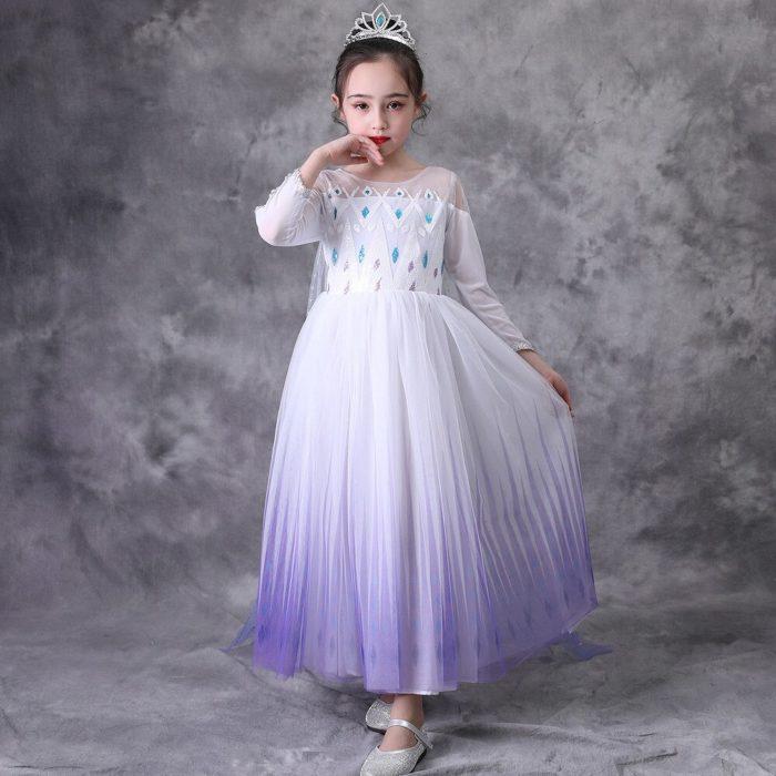 Top Schnee Königin Baby Mädchen Weiß Elsa Kleid Anna Elsa Cosplay Kostüm Sommer Prinzessin Kleid Halloween Geburtstag Party Hochzeit Kleid 3