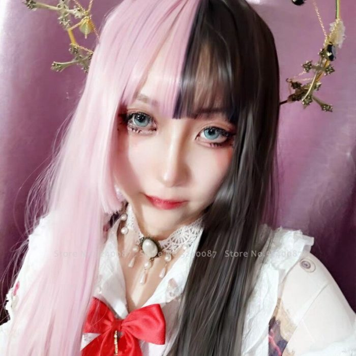Mädchen Japanischen Anime Weiß Schwarz Rosa Perücke Cosplay Kostüme Frauen Gothic Zwei Farbe Lange Haar Bühne Party Requisiten Kawaii Headwear 5