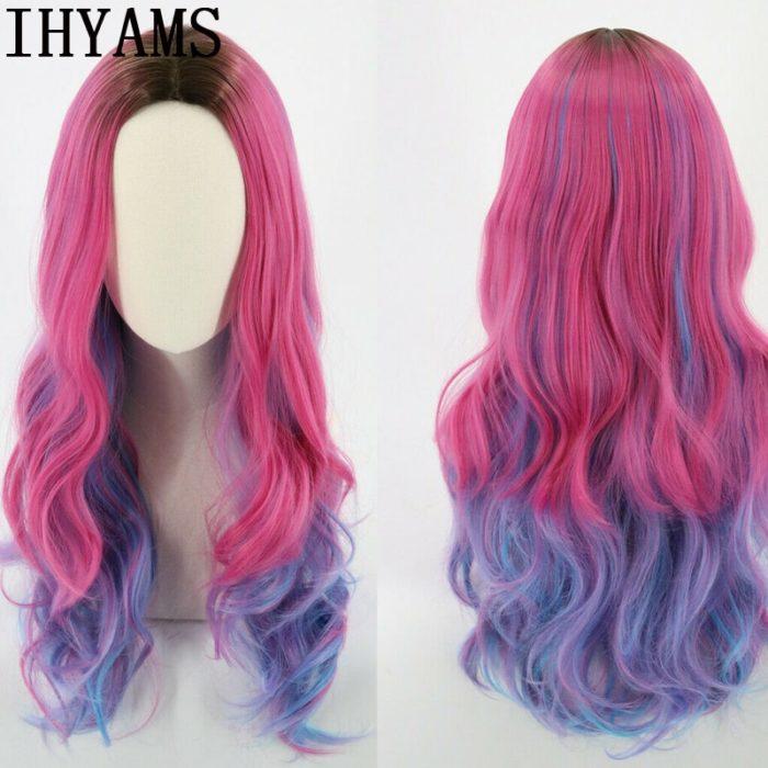 Nachkommen 3 Frauen Audrey Perücke Mixed farben Synthetische Haar Cosplay Kostüm Perücken Für Kinder und Erwachsene + Freies Perücke Kappe 1