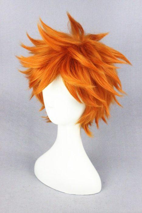 Hohe Qualität Anime Haikyuu!! Hinata Syouyou Cosplay Perücke Kurze Orange Curly Wärme Beständig Synthetische Haar Perücken + Perücke Kappe 2