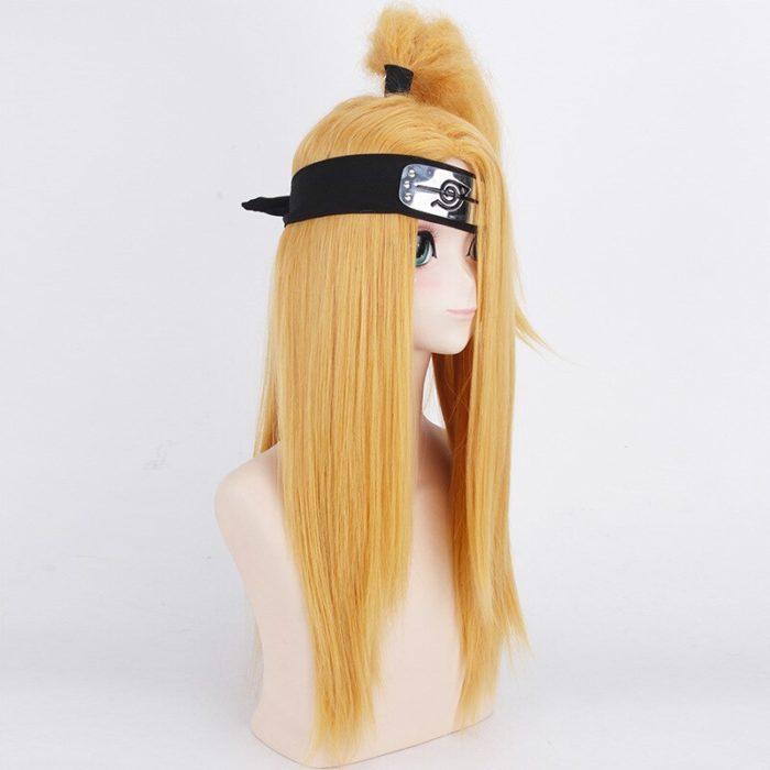 Naruto Akactuki Cosplay perücken halloween Deidara cosplay perücke für männer Lange Gold perücken haarteil kostüm 3