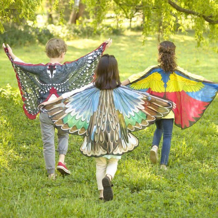 Drachen Kostüme Schmetterling Flügel Vogel Cosplay Ara Elster Inspiriert Flügel Kinder Kostüm Blau Rot 3