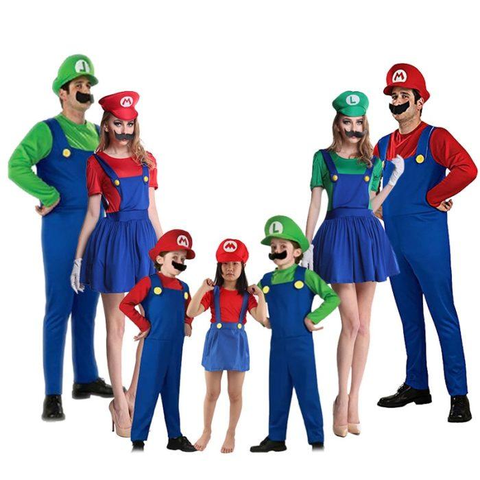 Super Mario Kleidung Erwachsene und Kinder Mario Familie Bros Cosplay Kostüm Set Kinder Geschenk Halloween Party MARIO & LUIGI Kleidung 1