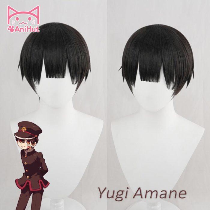 【AniHut】Yugi Amane Perücke Wc-gebunden Hanako-kun Cosplay Hitze Beständig Synthetische Schwarz Yugi Amane Haar 1