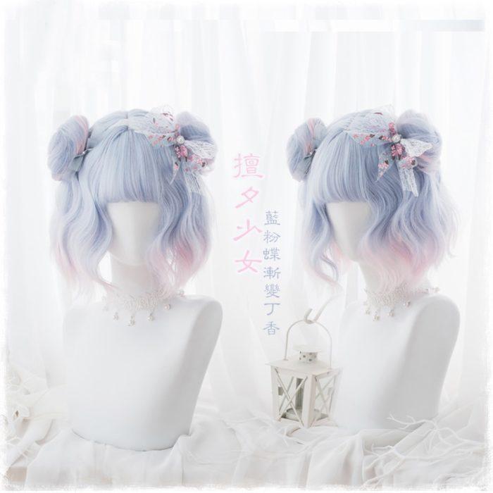 35cm Süße Kawaii Lolita Wellenförmige Lange Blau Ombre Rosa Cosplay Perücken Frauen Harajuku Synthetische Haar Perücke + Perücke Kappe 1
