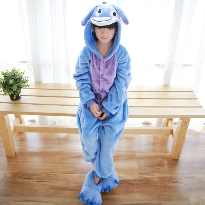 Kinder Kigurumi Kinder pyjamas Winter Flanell Tier pyjamas einem stück Kaninchen Totoro Stich Panda Cosplay baby Junge mädchen pyjamas 2