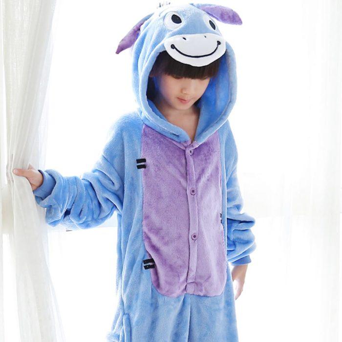 Kinder Kigurumi Kinder pyjamas Winter Flanell Tier pyjamas einem stück Kaninchen Totoro Stich Panda Cosplay baby Junge mädchen pyjamas 4