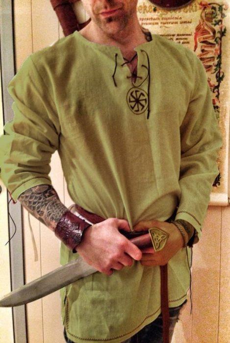Halloween Medieval Renaissance Cosplay Kostüm Männer Vikings Piraten Tops Retro T-Shirts Tunika Alte Slawischen Ritter Krieger Outfit 5