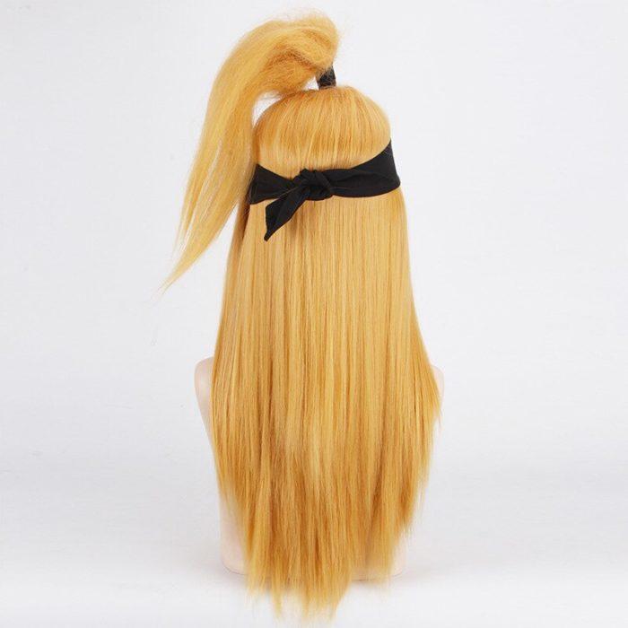 Naruto Akactuki Cosplay perücken halloween Deidara cosplay perücke für männer Lange Gold perücken haarteil kostüm 5