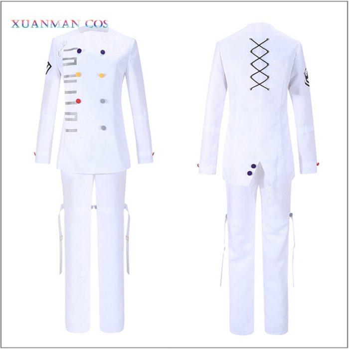Danganronpa V3 Kokichi Ouma Cosplay Weiße Uniform Halloween Fancy Outfit Hosen Vollen Satz Cosplay Kostüm Mit Scraf Mantel 3