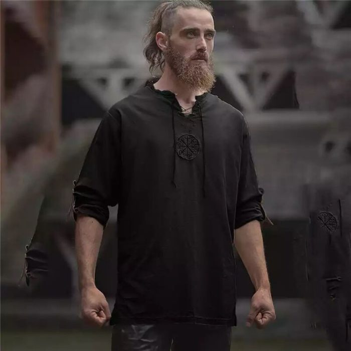 Mittelalterlichen Viking Pirate Leinen Top Hemd Kostüm Herren Nordic Krieger Retro T-shirt Bart Cosplay T Stickerei Für Erwachsene 4XL 5XL 4