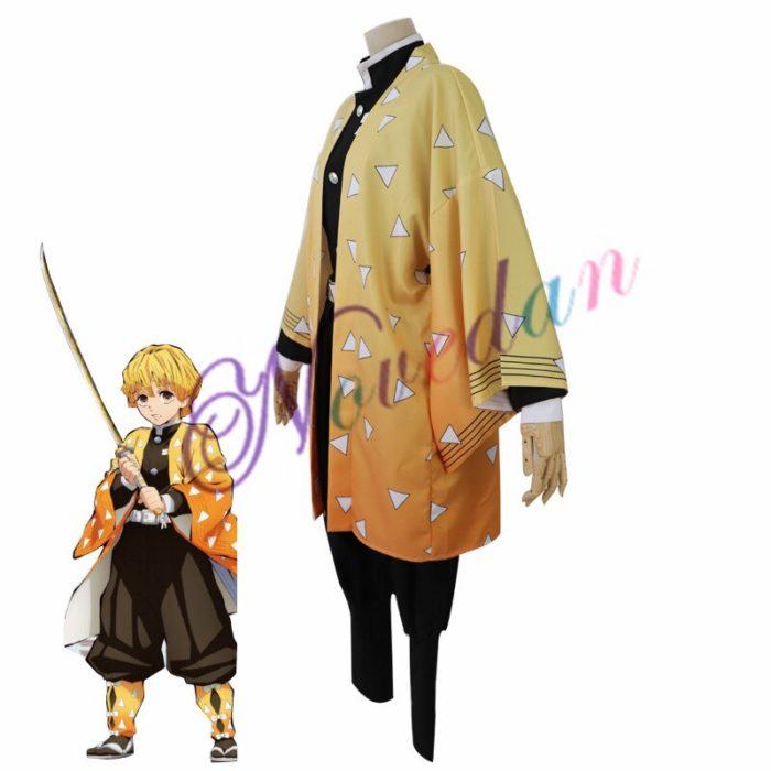 Anime Kimetsu keine Yaiba Cosplay Kostüm Dämon Slayer Agatsuma Zenitsu Cosplay Kleidung Kimono Halloween Kostüm Für Erwachsene Männer 2
