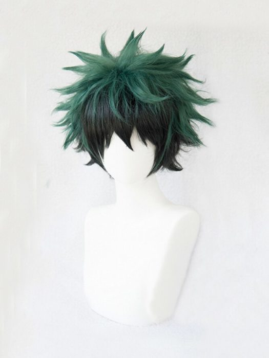 Mein Hero Wissenschaft Boku keine Hiro Akademia Izuku Midoriya Kurze Grün Schwarz Ombre Hitze Beständig Cosplay Kostüm Perücke + Track + kappe 2