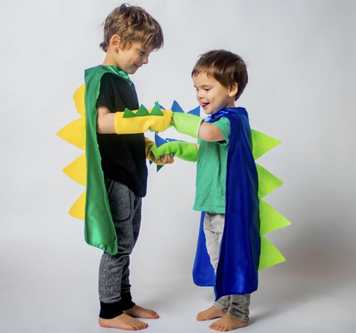 Lustige Halloween Kostüme Dinosaurier Cosplay Cape mit Handschuhe Doppel Seite Farben Geburtstag Party 1