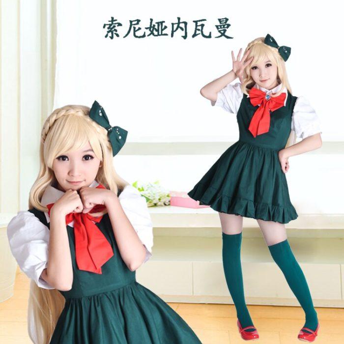 Anime Danganronpa cosplay Sonia Nevermind cos mode neue grün kleid cosplay frau kostüm 2