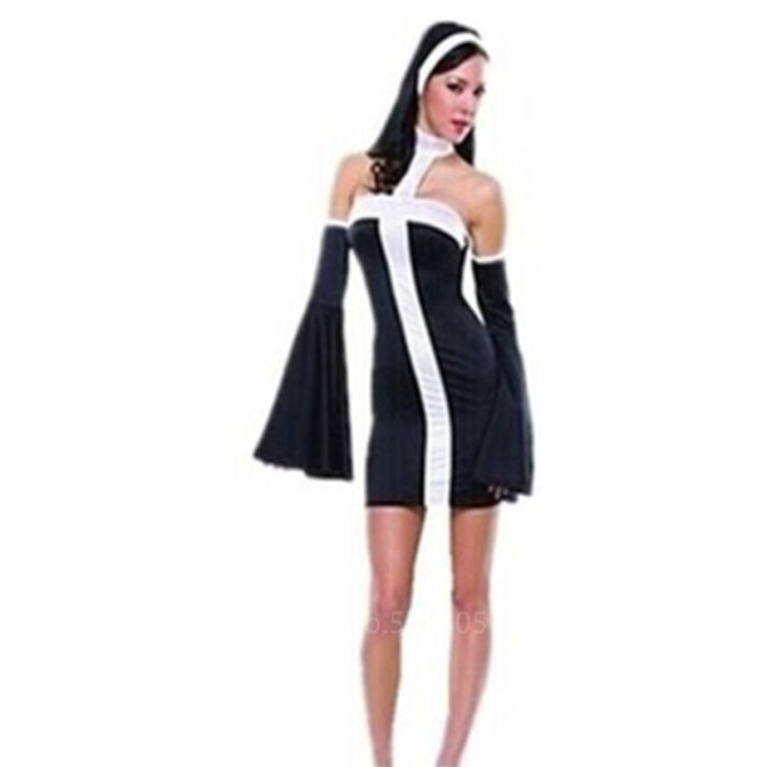 Missionar Cosplay Kostüme für Erwachsene Halloween Karneval Priest Nonne Lange Roben Religiöse Frommen Katholischen Kirche Vintage Kleidung 3