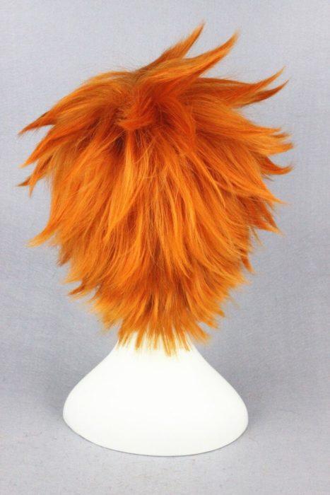 Hohe Qualität Anime Haikyuu!! Hinata Syouyou Cosplay Perücke Kurze Orange Curly Wärme Beständig Synthetische Haar Perücken + Perücke Kappe 4
