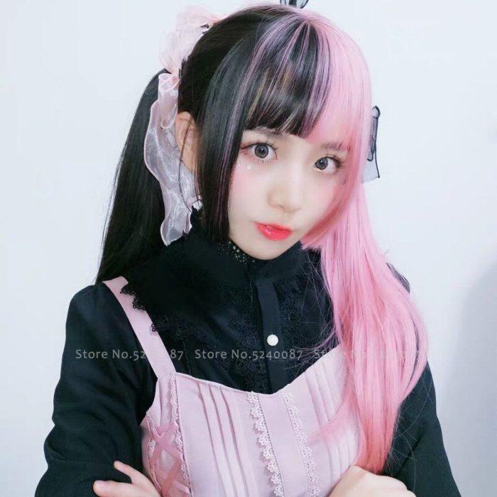 Mädchen Japanischen Anime Weiß Schwarz Rosa Perücke Cosplay Kostüme Frauen Gothic Zwei Farbe Lange Haar Bühne Party Requisiten Kawaii Headwear 4