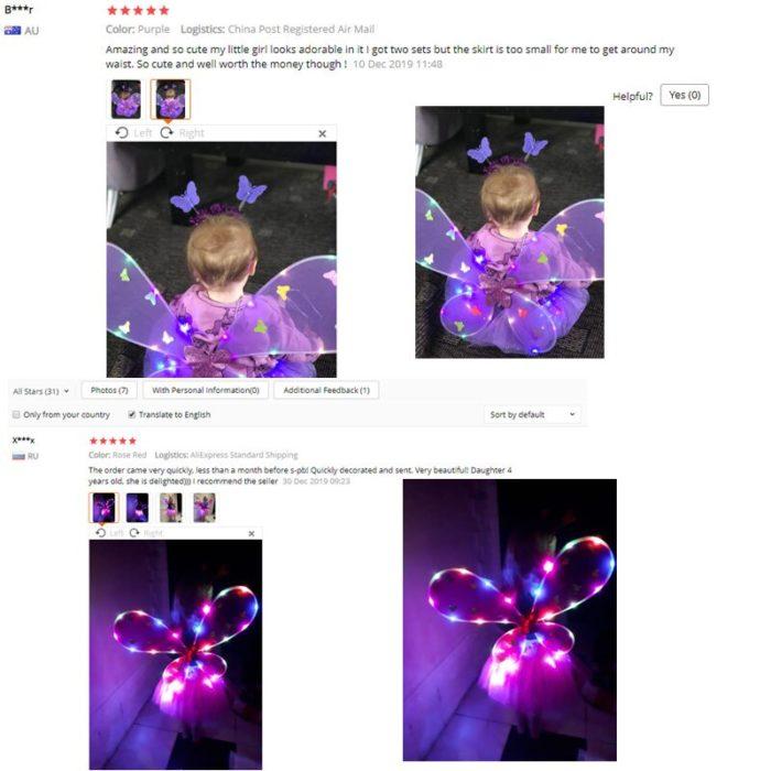 EDCRFV Frauen Mädchen Rolle-spielen Prop Nette Blinkende Flügel Tutu Rock LED Glow Stirnband Fee Stick Kinder Cosplay Kostüme 6