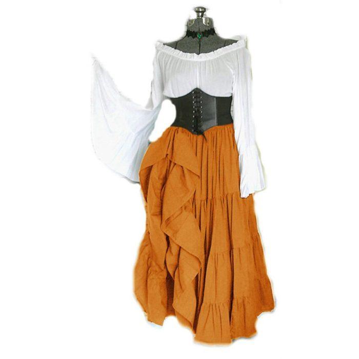 2020 neue Halloween Frauen Medieval Cosplay Kostüme Gothic Retro Victoria Mittelalter Karneval Langarm Plissee Korsett Kleid 6