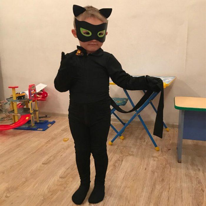 Kind Schwarz Katze Noir Cosplay Kostüm Magie Halloween Weihnachten Overall Jungen Adrian Marinette Super Hero Cosplay 4