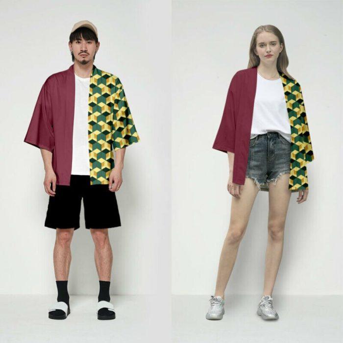 Unisex Dämon Slayer Kimetsu keine Yaiba Zeichen Cosplay Kimono Haori Mantel Shirt 4