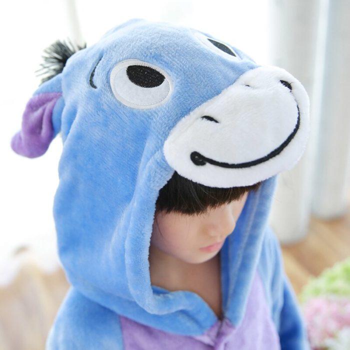 Kinder Kigurumi Kinder pyjamas Winter Flanell Tier pyjamas einem stück Kaninchen Totoro Stich Panda Cosplay baby Junge mädchen pyjamas 5
