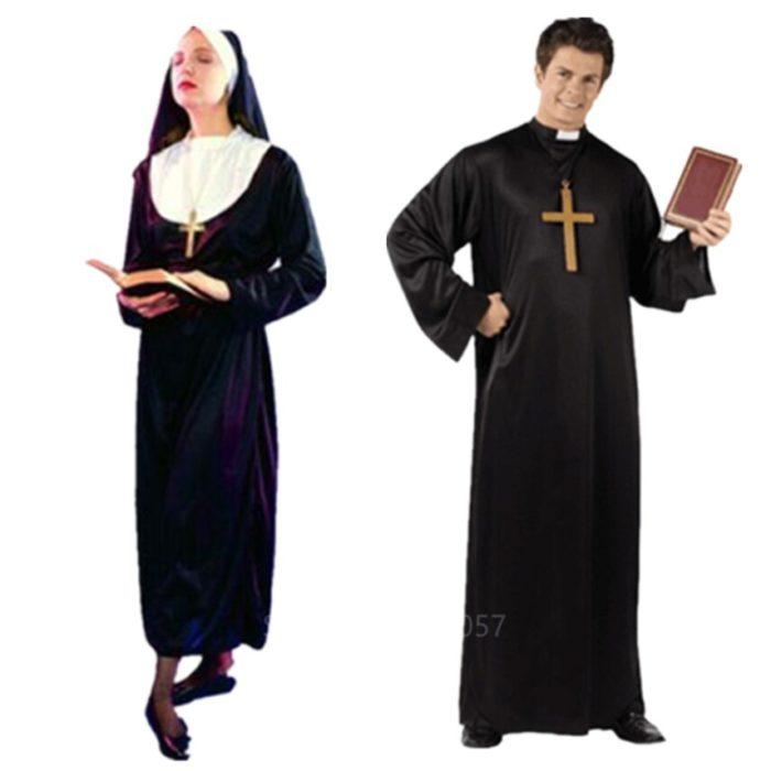 Missionar Cosplay Kostüme für Erwachsene Halloween Karneval Priest Nonne Lange Roben Religiöse Frommen Katholischen Kirche Vintage Kleidung 2