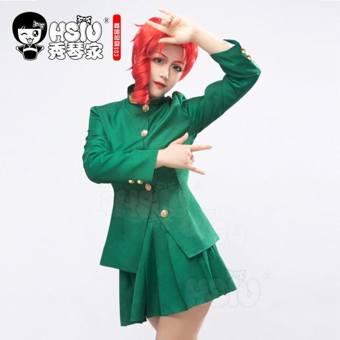 HSIU Anime jojos Bizarre Abenteuer Rolle perücke Kakyoin Noriaki cosplay Perücke Rot locken hoch temperatur faser perücke Kappe 3