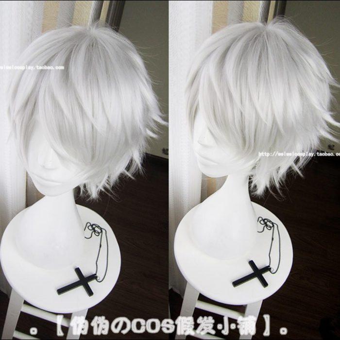 Anime Tokyo Ghoul Kaneki Ken Kurze Silber Weiß Hitzebeständig Haar Cosplay Kostüm Perücke + Freie Wig Cap 1