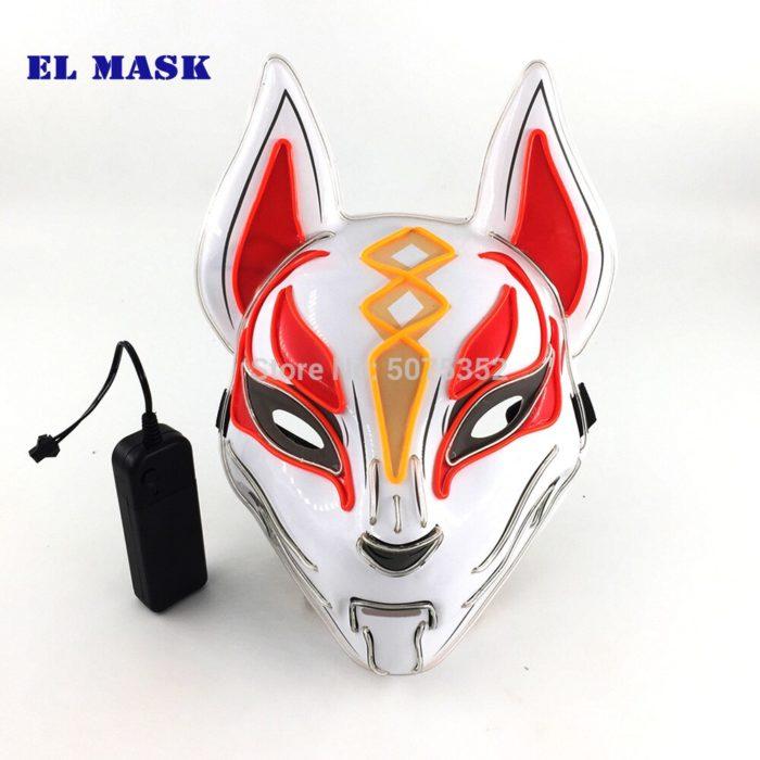 Anime Expro Decor Japanischen Fuchs Maske Neon Led Licht Cosplay Maske Halloween Party Rave Led Maske Dance DJ Payday Kostüm requisiten 4