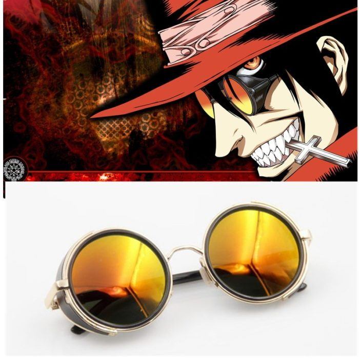 Anime HELLSING Alucard cosplay prop Vampire Hunter Gläser Orange Sonnenbrille für Männer Frauen 1