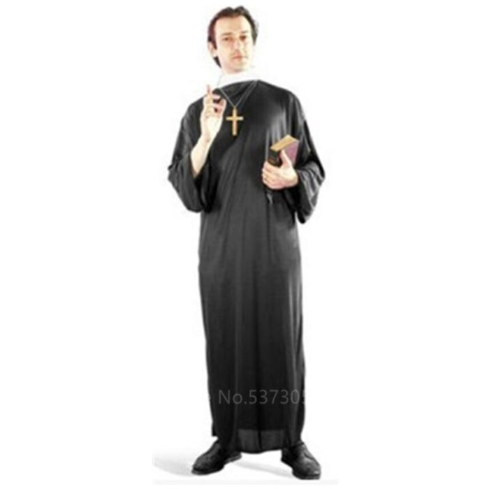 Missionar Cosplay Kostüme für Erwachsene Halloween Karneval Priest Nonne Lange Roben Religiöse Frommen Katholischen Kirche Vintage Kleidung 5