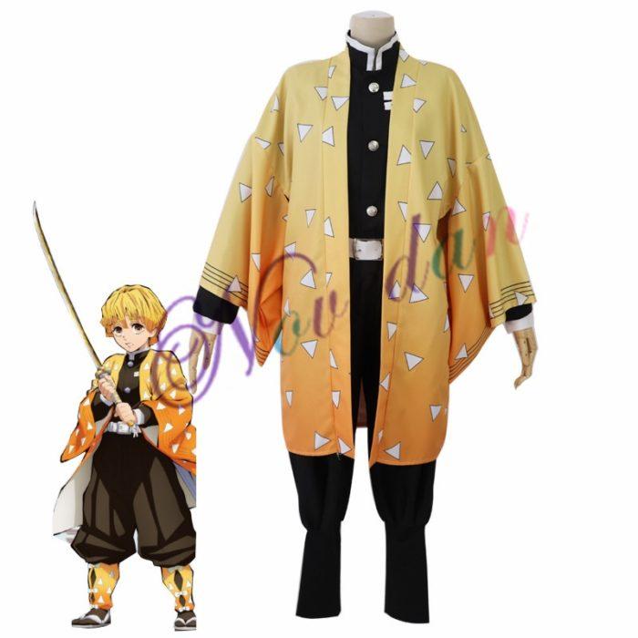 Anime Kimetsu keine Yaiba Cosplay Kostüm Dämon Slayer Agatsuma Zenitsu Cosplay Kleidung Kimono Halloween Kostüm Für Erwachsene Männer 1