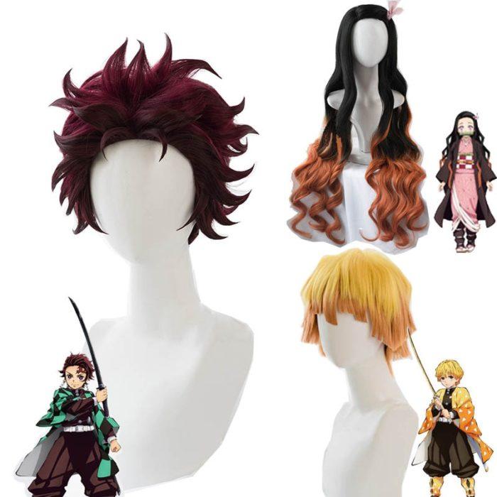 Cosroad Nezuko Tanjirou Kamado Perücken Dämon Slayer Kimetsu keine Yaiba Cosplay Perücken Zenitsu Agatsuma Goldene Kurze Haar 1