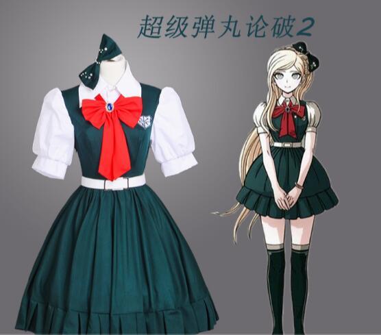 Anime Danganronpa cosplay Sonia Nevermind cos mode neue grün kleid cosplay frau kostüm 1