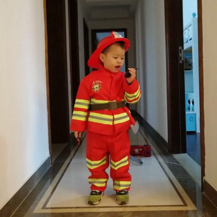Kinder Feuerwehr Kostüme Baby Jungen Kleidung Set Halloween Party Cosplay Roleplay Feuerwehrmann Kostüme für Teenager Jungen mit Gürtel 1