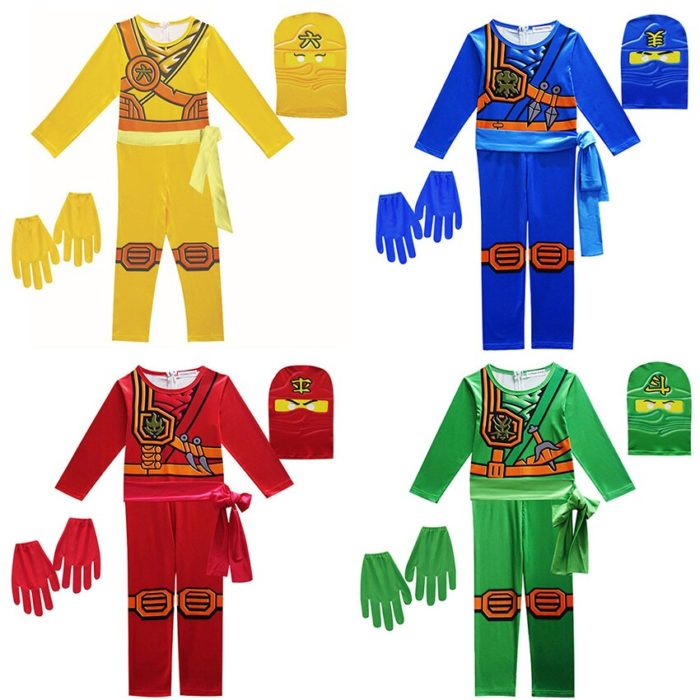 Ninjago Kostüm Jungen Kostüme Kinder Phantasie Party Kleid Up Karneval Halloween Kostüm für Kinder Ninja Cosplay Superhero Overall 2