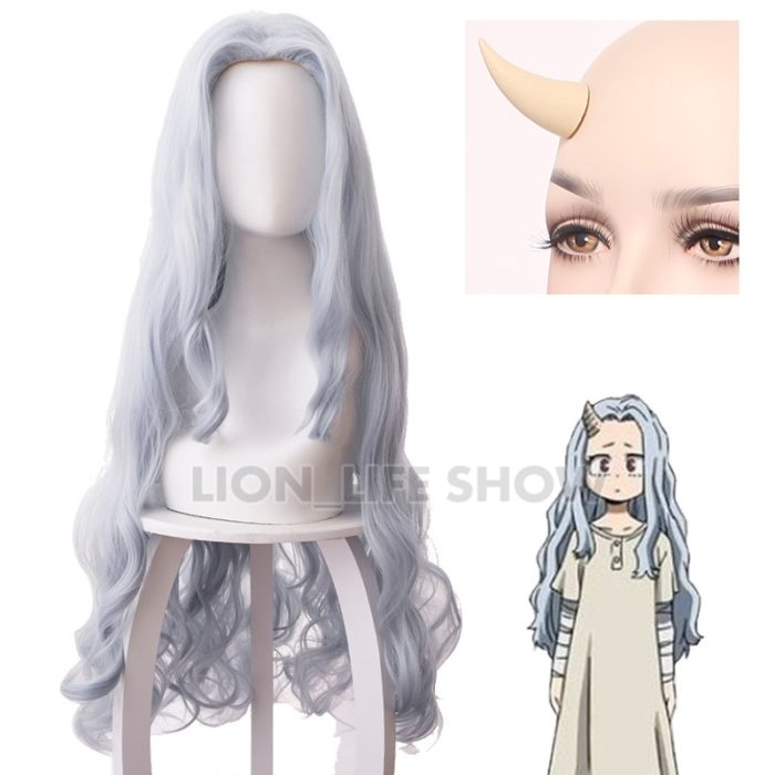 Boku no My Hero Academia Eri Chisaki Woman Gray Blue Wig Cosplay Heat Resistant Synthetic Wigs+free Wig Cap 1