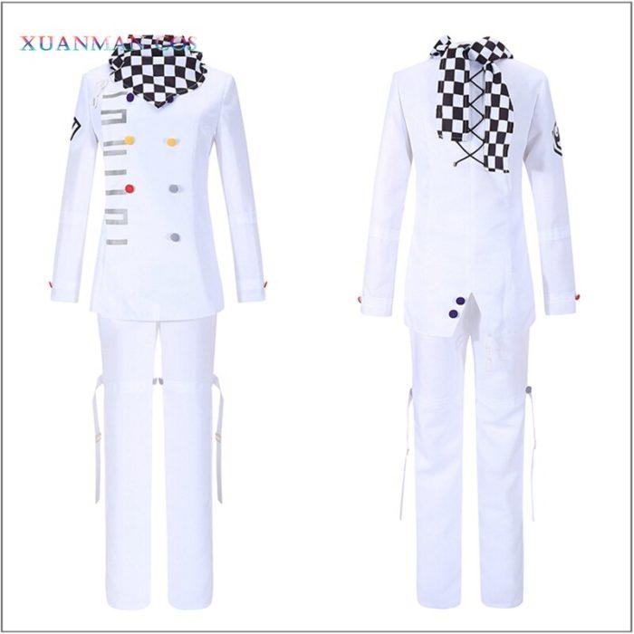 Danganronpa V3 Kokichi Ouma Cosplay Weiße Uniform Halloween Fancy Outfit Hosen Vollen Satz Cosplay Kostüm Mit Scraf Mantel 4