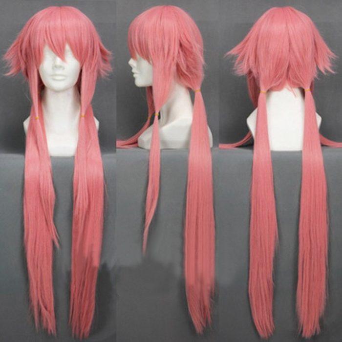 Die Zukunft Tagebuch Yuno Gasai 80 cm Lange Rosa Gerade frauen Mädchen Hitze Beständig Cosplay Kostüm Perücke + Track + kappe 1