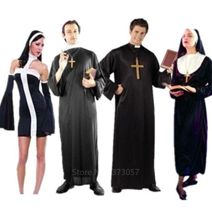 Missionar Cosplay Kostüme für Erwachsene Halloween Karneval Priest Nonne Lange Roben Religiöse Frommen Katholischen Kirche Vintage Kleidung 1