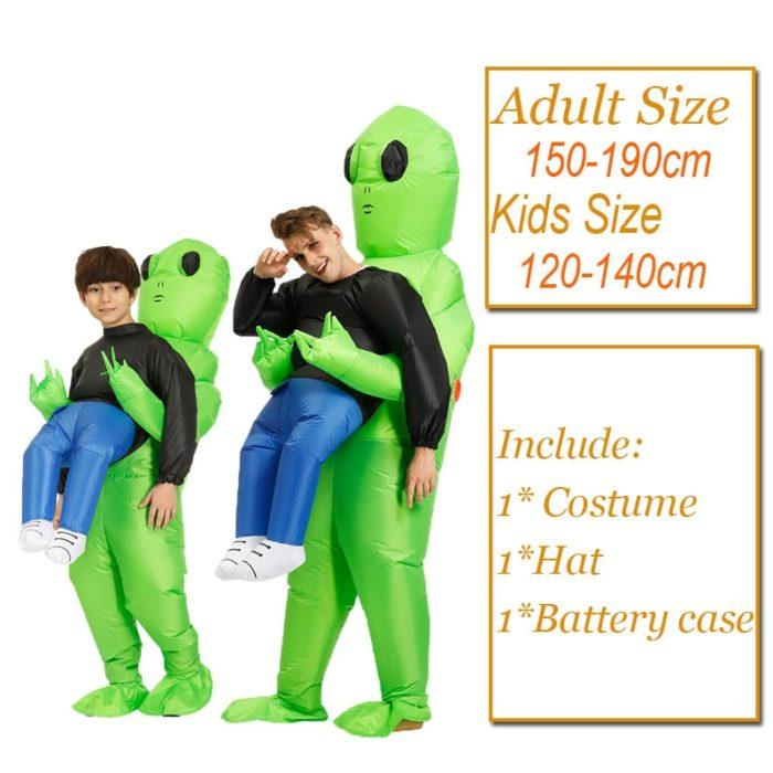 Heißer Grün Alien Aufblasbare kostüm Cosplay kostüm Lustige Blow Up Anzug Party kostüm Fancy Kleid Halloween Kostüm für erwachsene kinder 6
