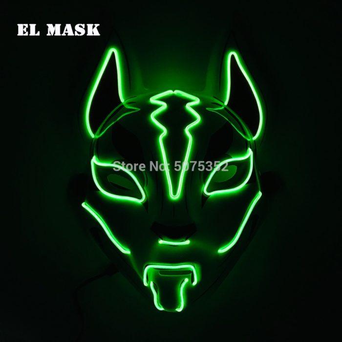 Anime Expro Decor Japanischen Fuchs Maske Neon Led Licht Cosplay Maske Halloween Party Rave Led Maske Dance DJ Payday Kostüm requisiten 3