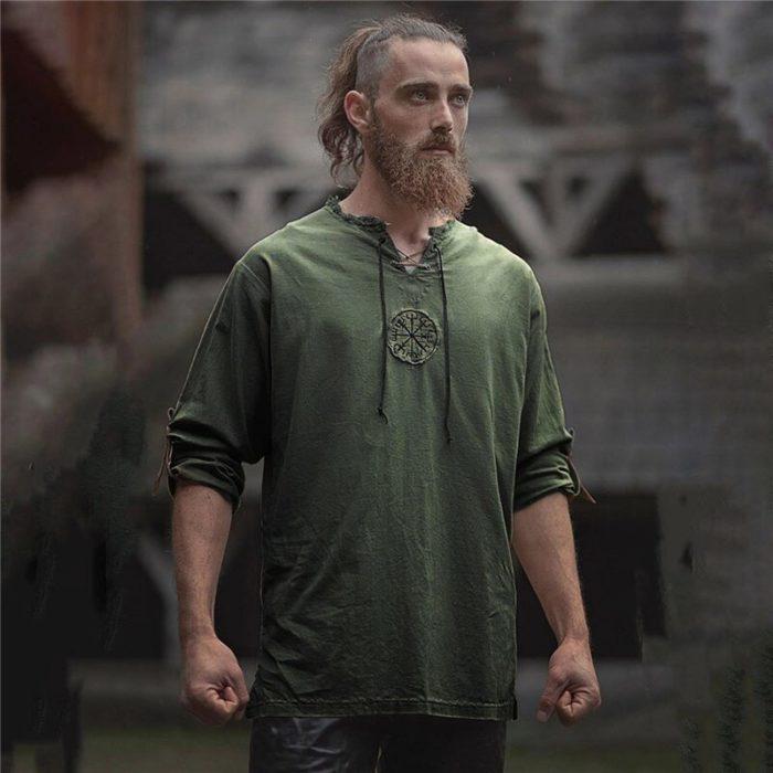 Mittelalterlichen Viking Pirate Leinen Top Hemd Kostüm Herren Nordic Krieger Retro T-shirt Bart Cosplay T Stickerei Für Erwachsene 4XL 5XL 3