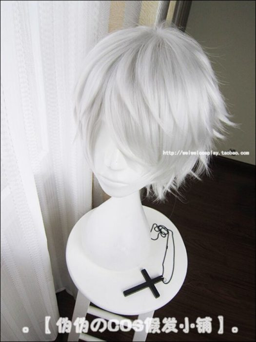 Anime Tokyo Ghoul Kaneki Ken Kurze Silber Weiß Hitzebeständig Haar Cosplay Kostüm Perücke + Freie Wig Cap 2