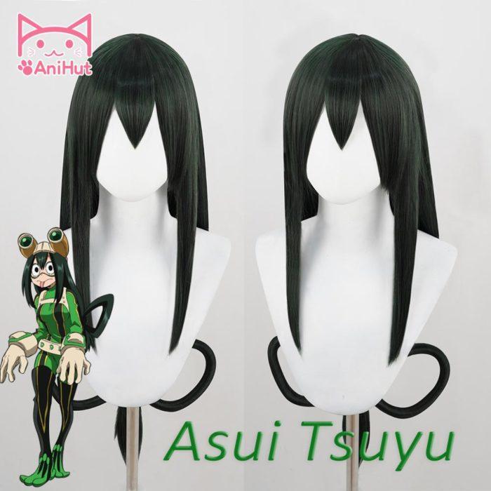 【AniHut】 Asui Tsuyu Froppy Perücke Boku Keine Hero Wissenschaft Cosplay Perücke Anime Mein Hero Wissenschaft Cosplay Haar Grüne Perücken Asui tsuyu 1