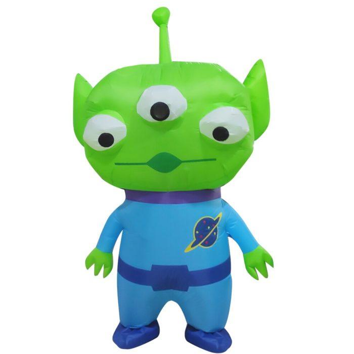 Heißer Grün Alien Aufblasbare kostüm Cosplay kostüm Lustige Blow Up Anzug Party kostüm Fancy Kleid Halloween Kostüm für erwachsene kinder 5